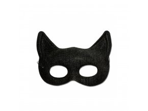 Škraboška - látková, kočičí, černá
