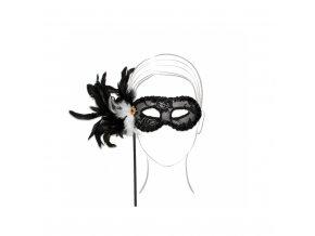 Škraboška - luxusní, černá, s tyčkou