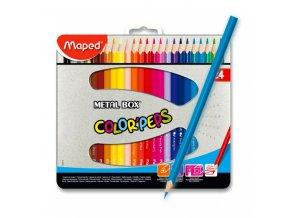 Pastelky trojhranné - 24ks, MAPED, Color Peps, Metal Box