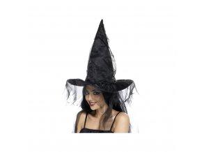 Čarodějnický klobouk - černý se síťkou