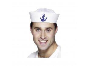 Čepice - americký námořník, bílá, s kotvou