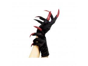 Černé rukavice se třpytivými nehty - červené
