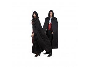 Černý plášť s kapucí - 150cm