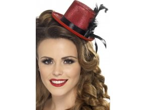 Dámský klobouk - mini, s peřím, červený