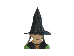 Dětský čarodějnický klobouk - černý, lesklý