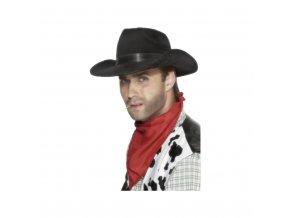 Kovbojský klobouk - černý, semiš