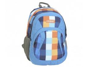 Batoh školní EXPLORE 2v1, modrý s oranžově kostkovanou látkou