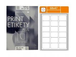 Etikety samolepící, (68x47mm), 18 etiket, PLUS