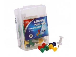 Připínáčky, box, 35ks, barevné