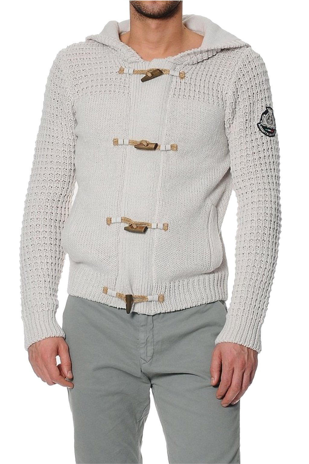 Znackovy pansky vlneny svetr s kapuci bezovy 1