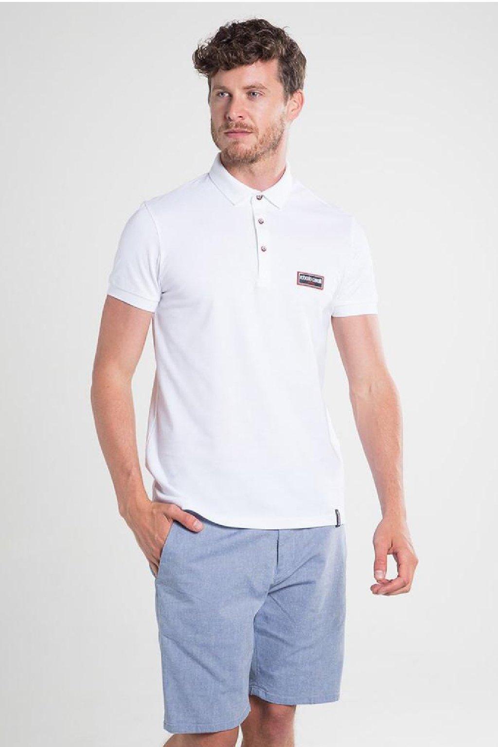 Značkové pánské polo tričko Roberto Cavalli Sport bile (7)