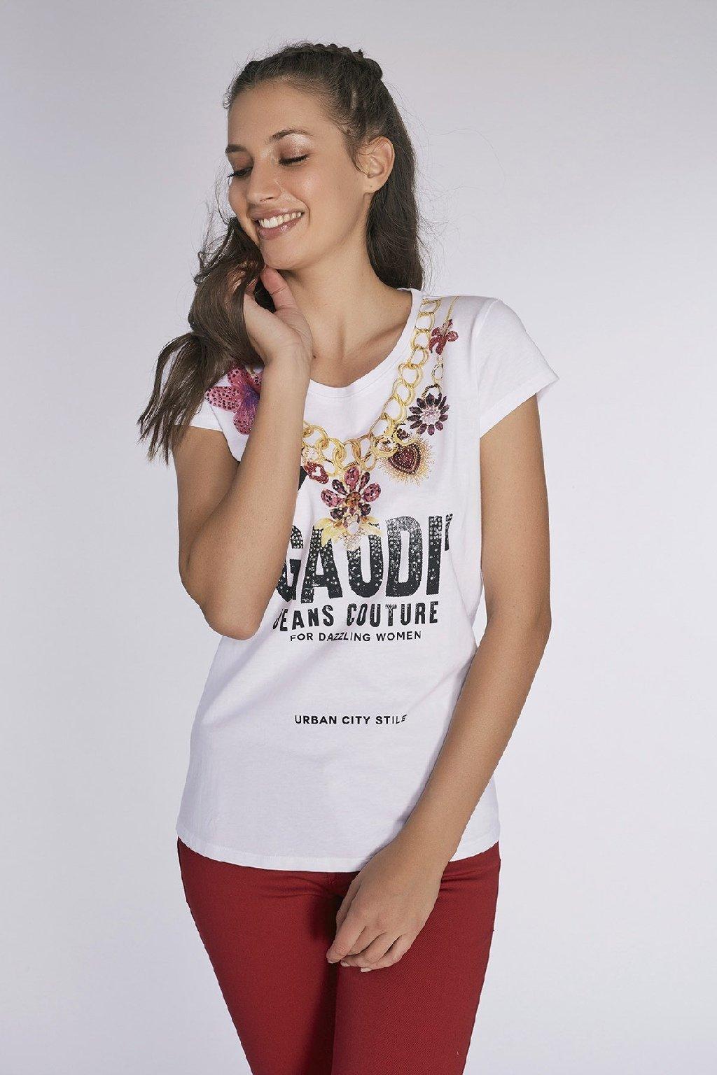 znackove damske tricko s kaminky Gaudi Jeans (5)