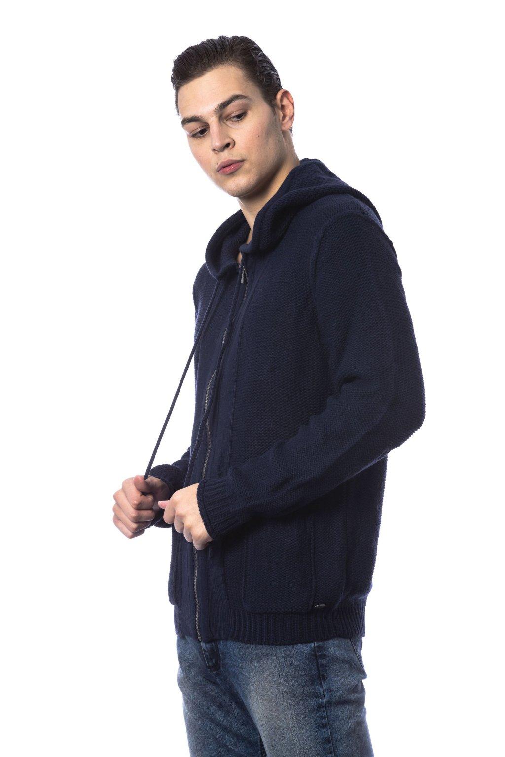 znackova panska mikina s kapuci Gaudi Jeans tmave modra (3)