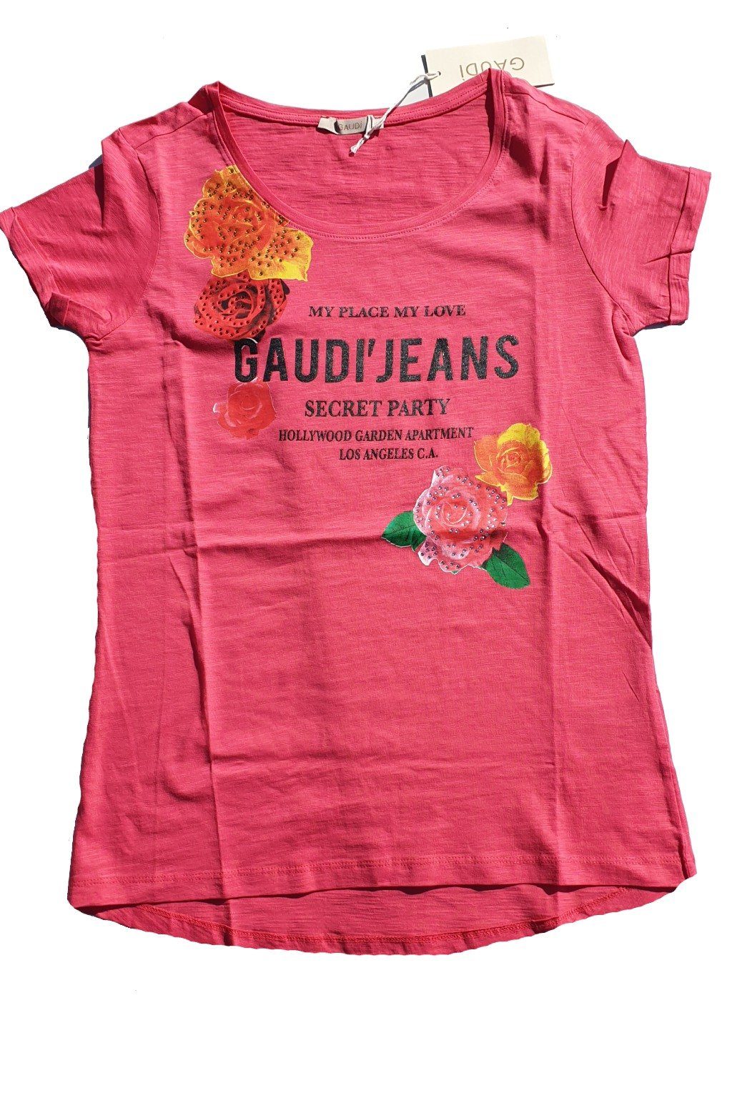znackove damske tricko s kaminky Gaudi Jeans ruzove (3)