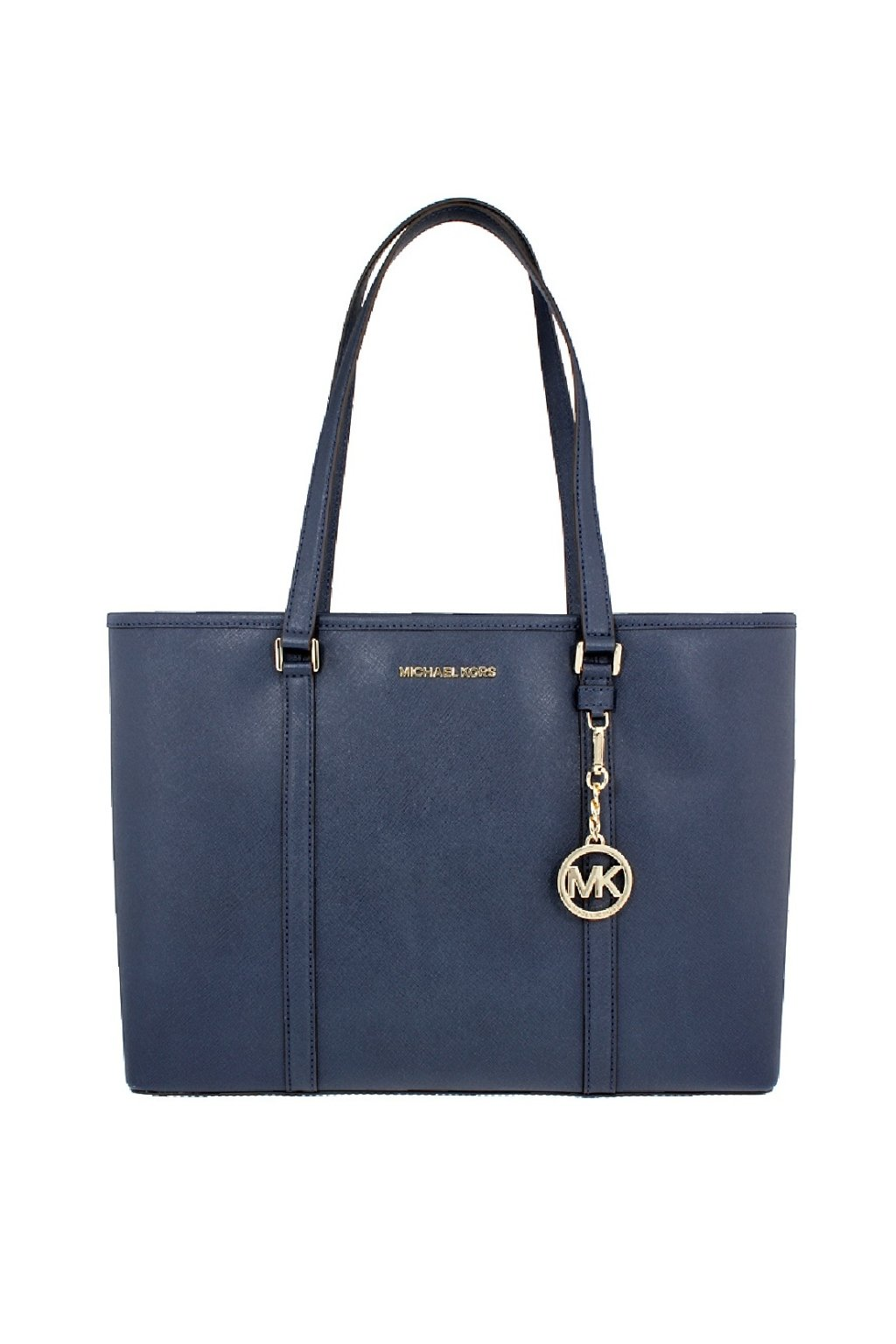 Kabelka michael kors shopperka sady tmave modra zlate kovani velka mk velka tote kabelka luxusni kabelky luxurybags parizska znackova moda kors mk hermes gucci marmont blu navy monogram (2)