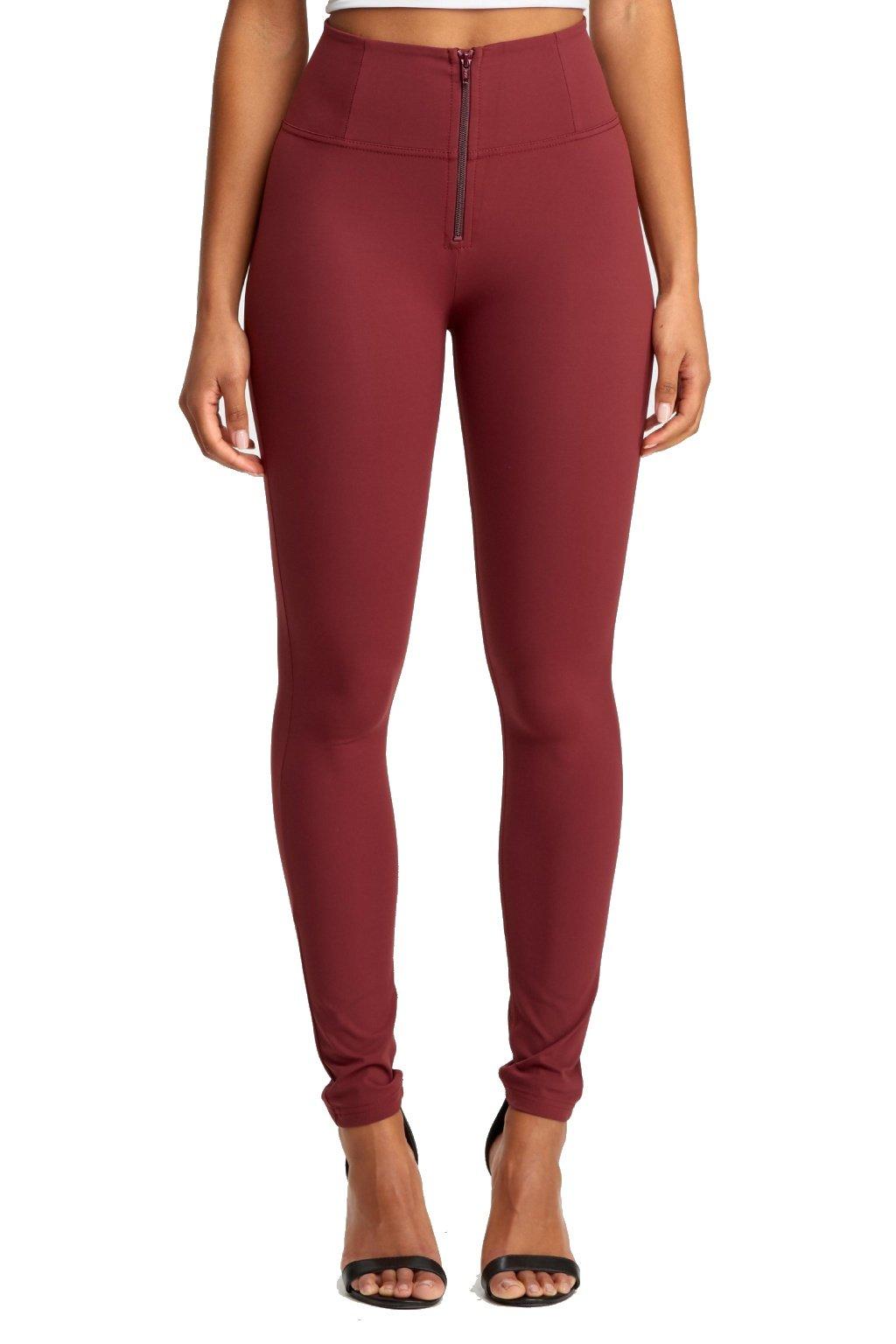Freddy diwo pro kalhoty vysoky pas d.i.w.o. rude bordeaux burgundyvinove skinny superskinny leginy push up kalhoty originalni freddy nova kolekce (1)