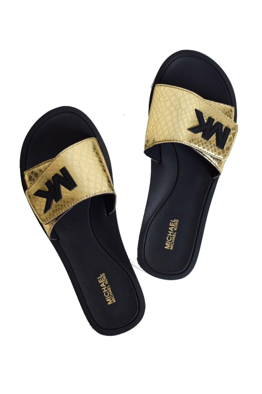 Cerno zlate pantofle Michael Kors kozene pantofle damske Michael Kors nazouvaky Calvin Klein Brno Michael kors zabky pantofle replay slevovy kod zalando Luxusni pantofle Hermes nadherne damske pantofle erikafashion (1)