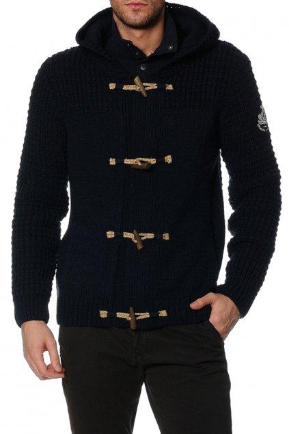 Znackovy pansky vlneny svetr s kapuci modry (1)