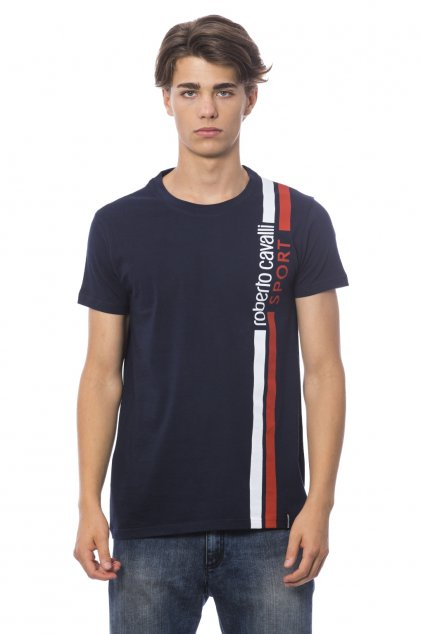 Značkové pánské tričko Roberto Cavalli Sport - Modrá Line (Barva Modrá, Velikosti XL)
