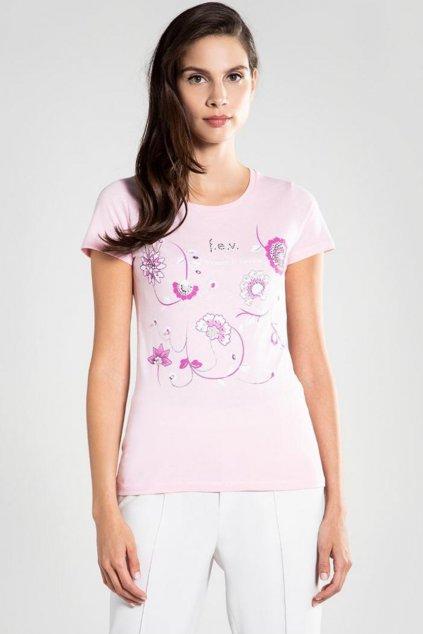 Znackove Damske Tricko Versace ruzove s kvetinama (1)