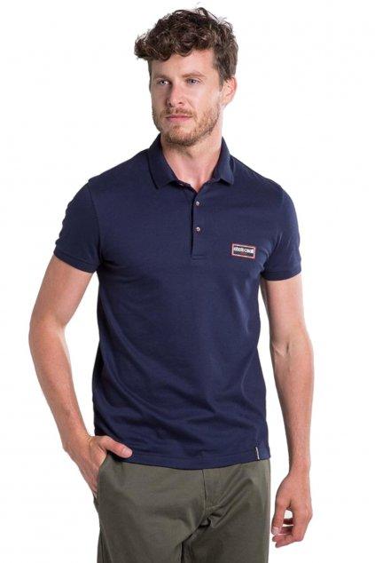 Značkové pánské polo tričko Roberto Cavalli Sport modre (3)