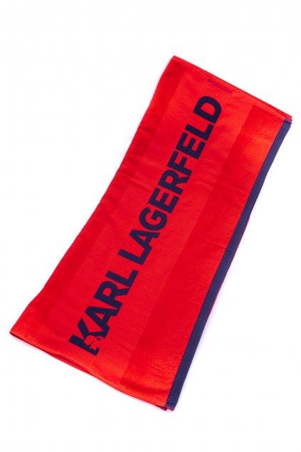 Znackovy plazovy rucnik karl lagerfeld cerveny (1)