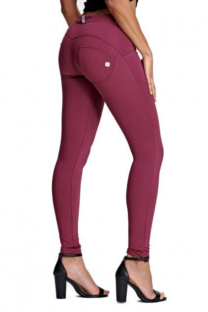Freddy skinny kalhoty velikost S burgundy made in italy normalni pas (3)
