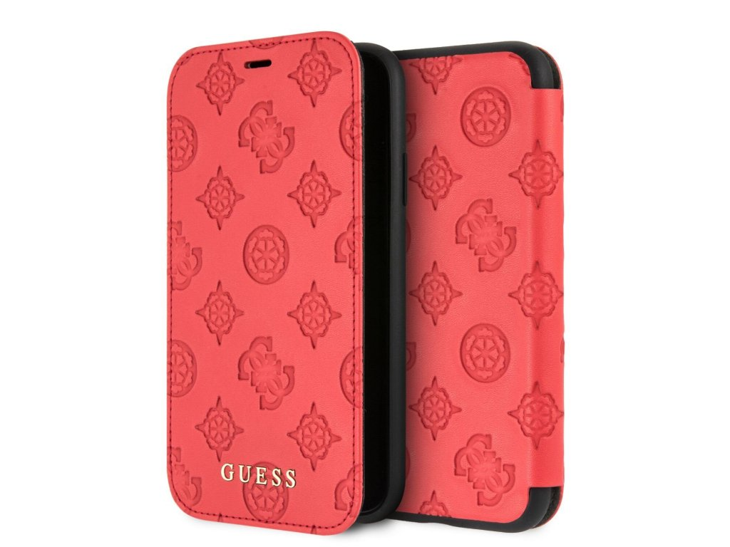 Guess Debossed Peony Book Pouzdro pro iPhone X/XS Red