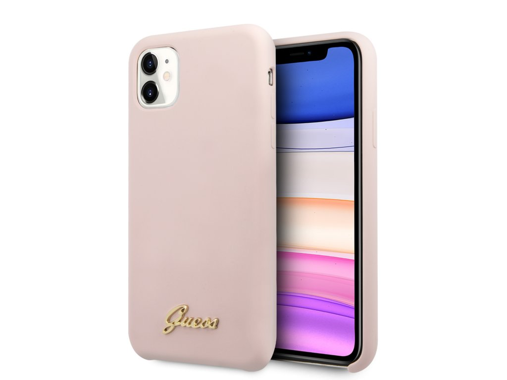 Guess Silicone Vintage Zadní Kryt pro iPhone 11 Pink
