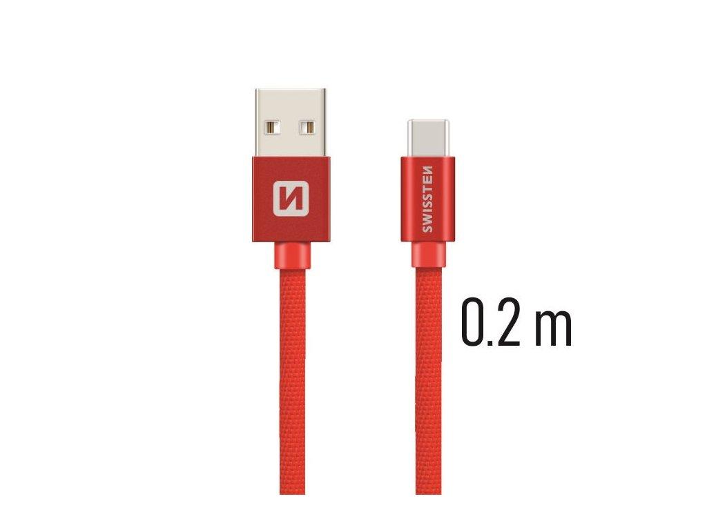 DATOVÝ KABEL SWISSTEN TEXTILE USB / USB-C 0,2 M ČERVENÝ
