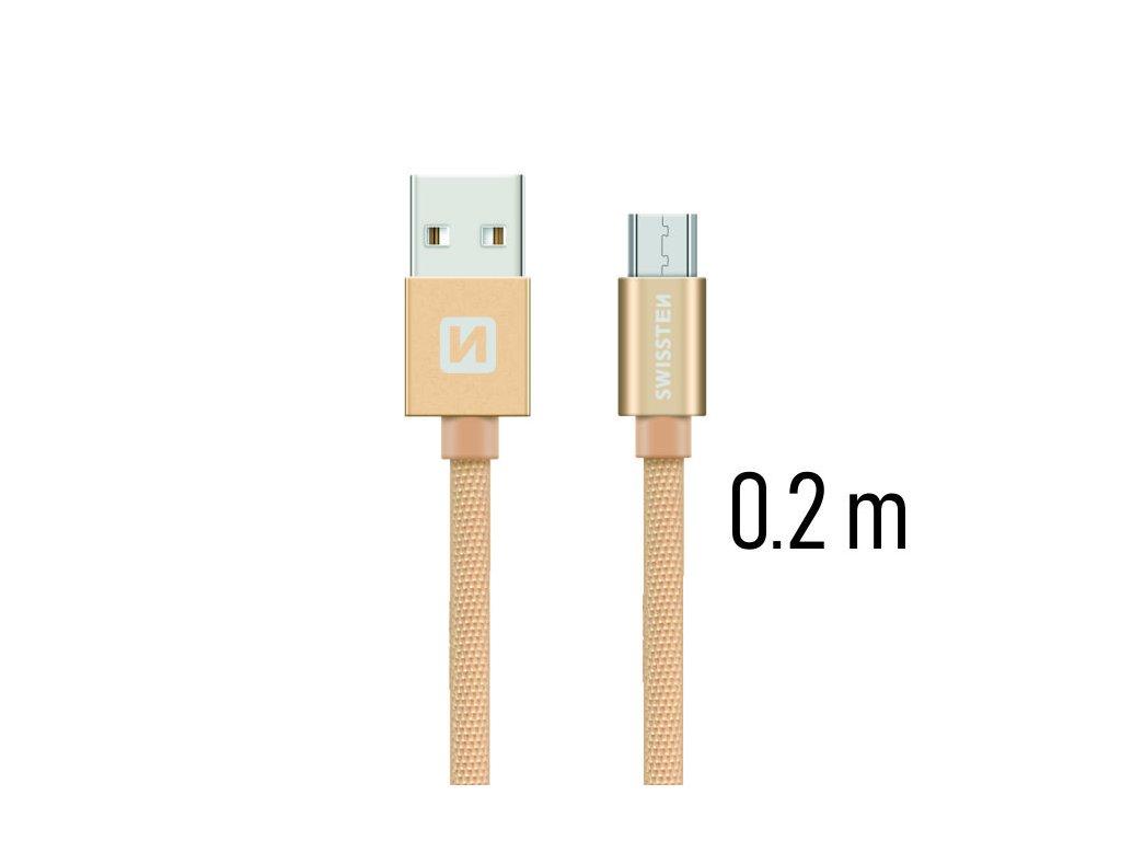 DATOVÝ KABEL SWISSTEN TEXTILE USB / MICRO USB 0,2 M ZLATÝ