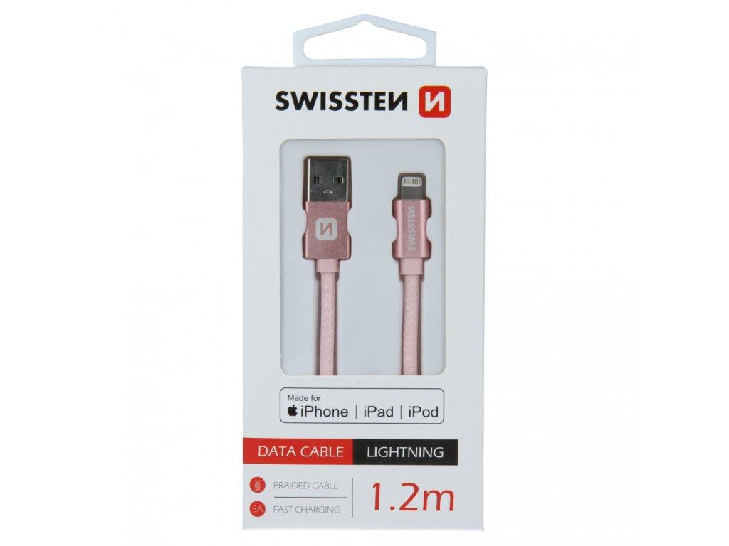 DATOVÝ KABEL SWISSTEN TEXTILE USB / LIGHTNING MFi 1,2 M RŮŽOVO/ZLATÝ