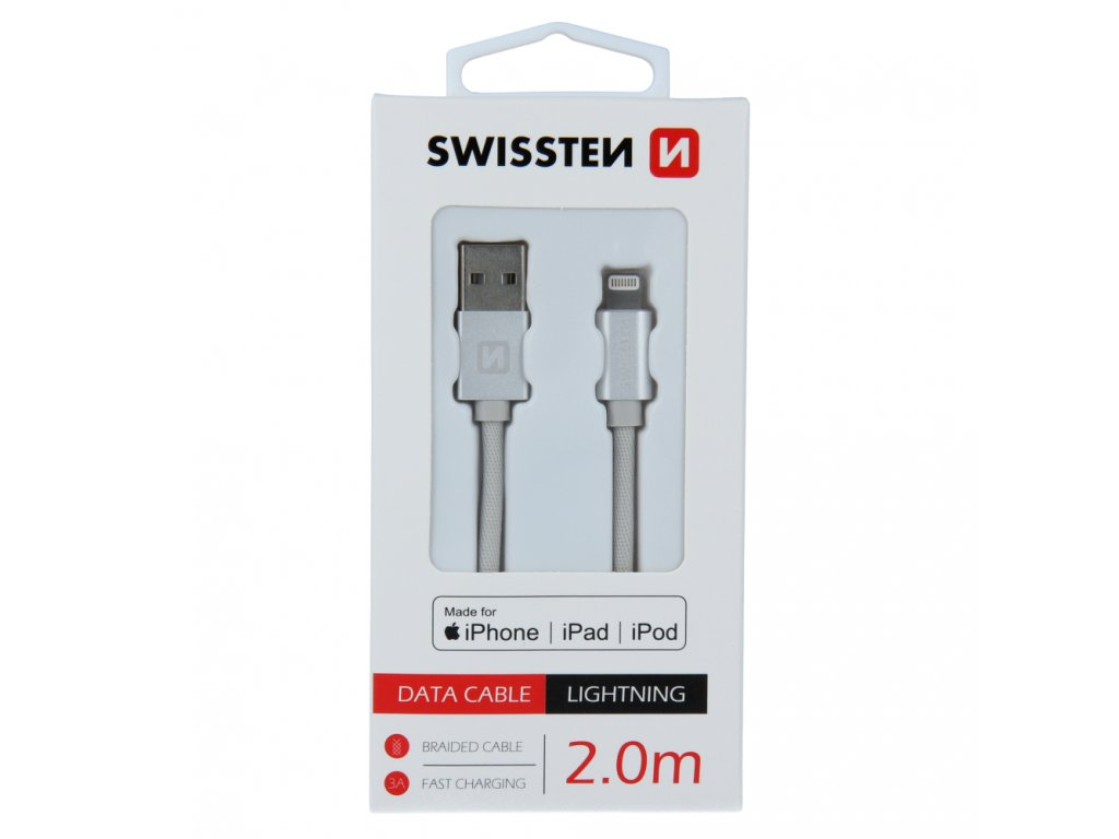 DATOVÝ KABEL SWISSTEN TEXTILE USB / LIGHTNING MFi 2,0 M STŘÍBRNÝ