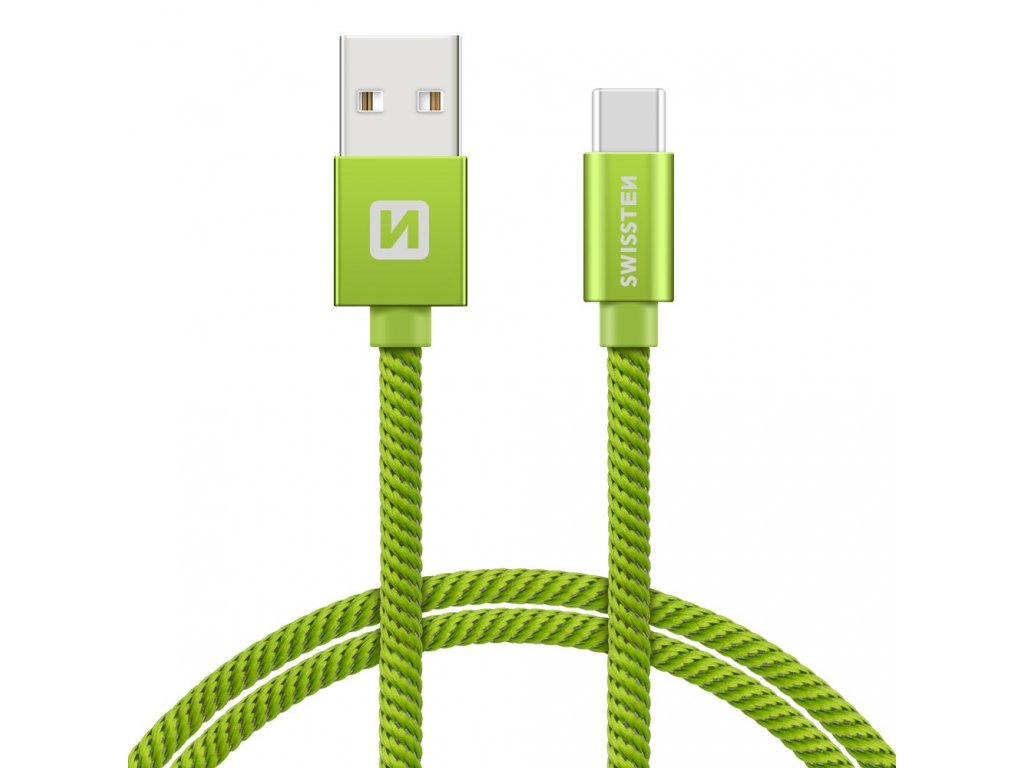 DATOVÝ KABEL SWISSTEN TEXTILE USB / USB-C 0,2 M ZELENÝ