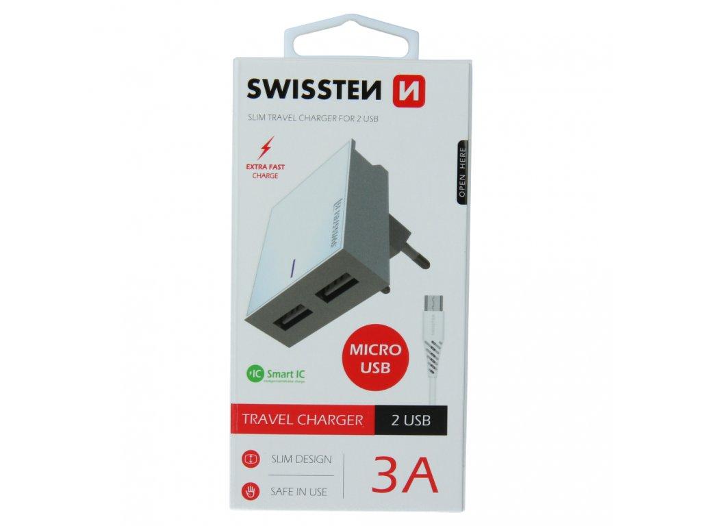 SWISSTEN SÍŤOVÝ ADAPTÉR SMART IC 2x USB 3A POWER + DATOVÝ KABEL USB / MICRO USB 1,2 M BÍLÝ