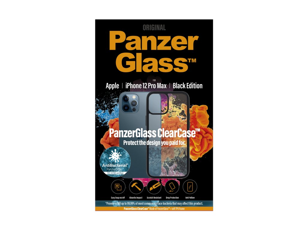 PanzerGlass ClearCase Antibacterial pro Apple iPhone 12 Pro Max Black edition