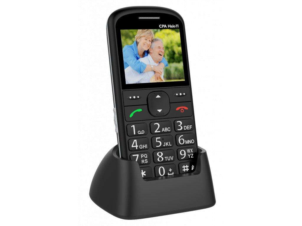 Telefon CPA Halo 11 Senior černý s nabíjecím stojánkem