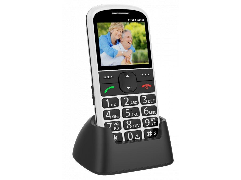 Telefon CPA Halo 11 Senior bílý s nabíjecím stojánkem