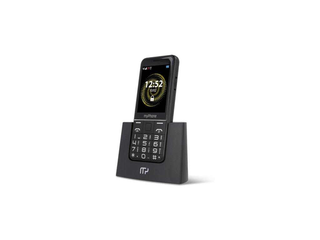 Telefon myPhone Halo Q Senior černý s nabíjecím stojánkem