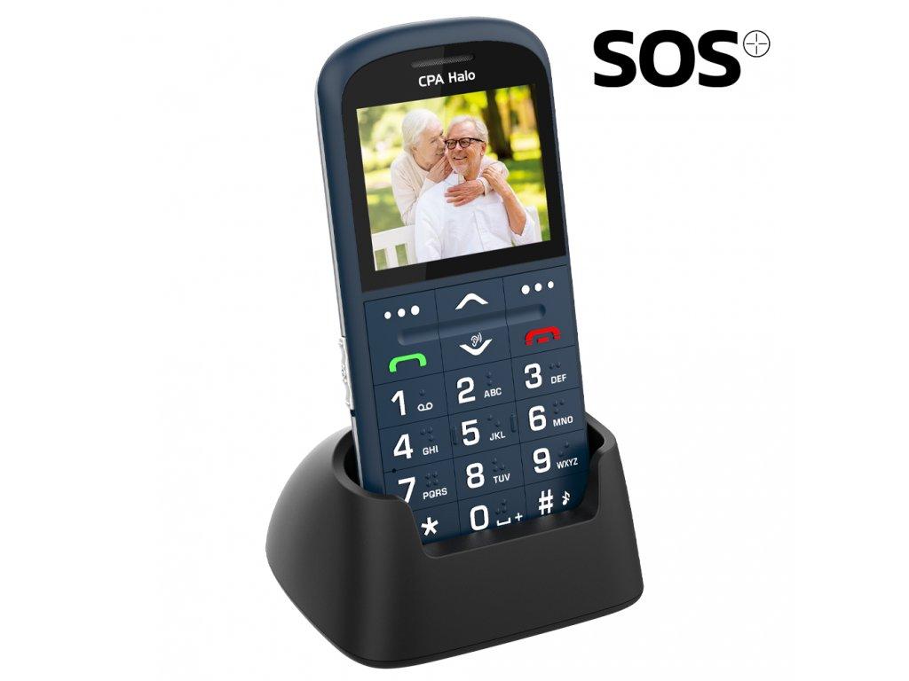 Telefon CPA Halo 11 Pro Senior modrý s nabíjecím stojánkem