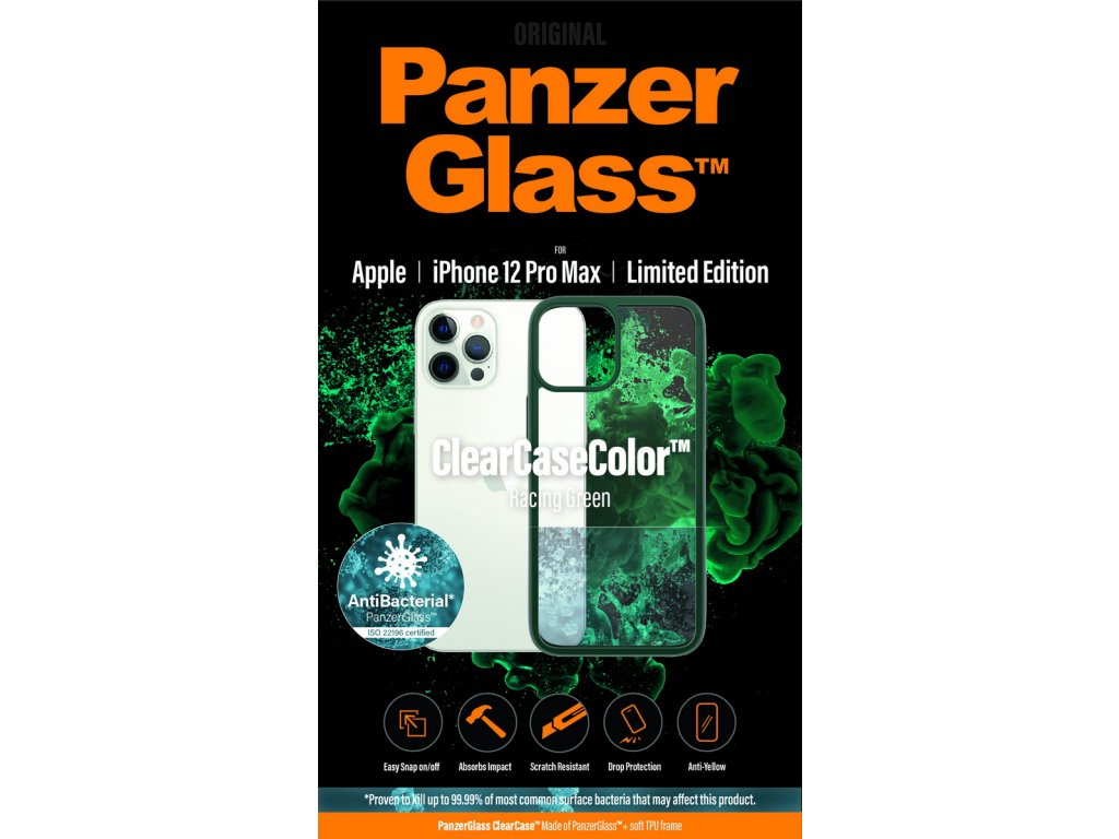 PanzerGlass ClearCase Antibacterial pro Apple iPhone 12 Pro Max (zelený - Racing Green)