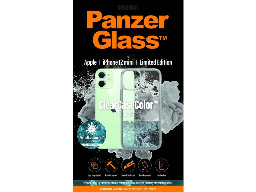 PanzerGlass ClearCase Antibacterial pro Apple iPhone 12 mini (stříbrný - Satin Silver)