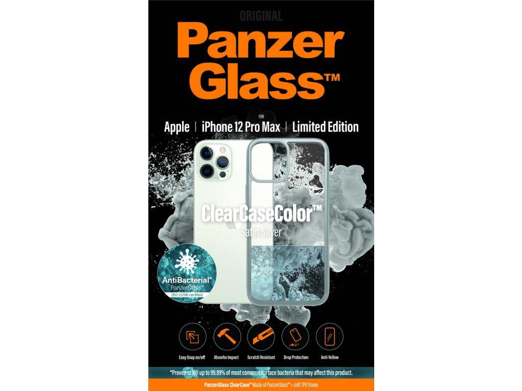 PanzerGlass ClearCase Antibacterial pro Apple iPhone 12 Pro Max (stříbrný - Satin Silver)