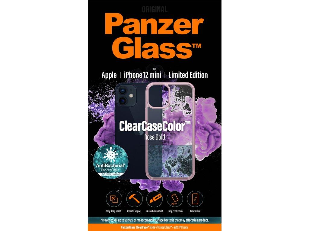 PanzerGlass ClearCase Antibacterial pro Apple iPhone 12 mini (růžový - Rose Gold)
