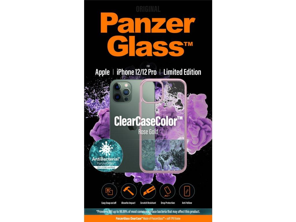 PanzerGlass ClearCase Antibacterial pro Apple iPhone 12/12 Pro (růžový - Rose Gold)