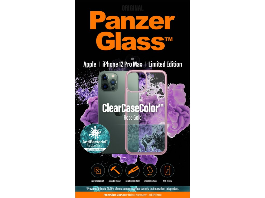 PanzerGlass ClearCase Antibacterial pro Apple iPhone 12 Pro Max (růžový - Rose Gold)