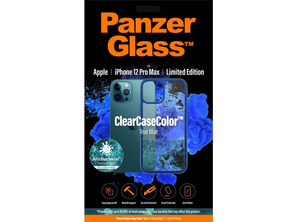PanzerGlass ClearCase Antibacterial pro Apple iPhone 12 Pro Max (modrý - True Blue)