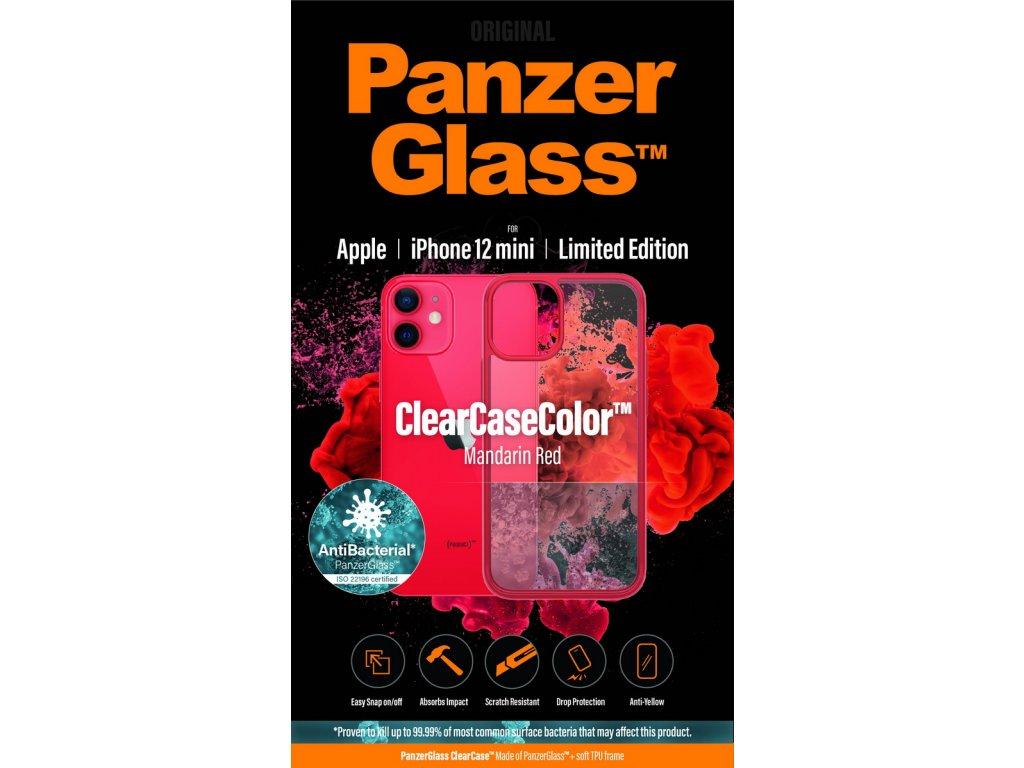 PanzerGlass ClearCase Antibacterial pro Apple iPhone 12 mini (červený - Mandarin Red)
