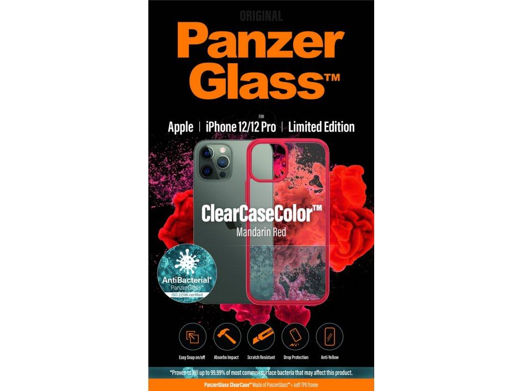 PanzerGlass ClearCase Antibacterial pro Apple iPhone 12/12 Pro (červený - Mandarin Red)