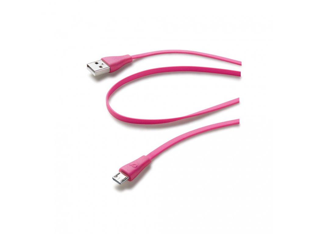 Plochý USB datový kabel CellularLine s konektorem microUSB, růžový